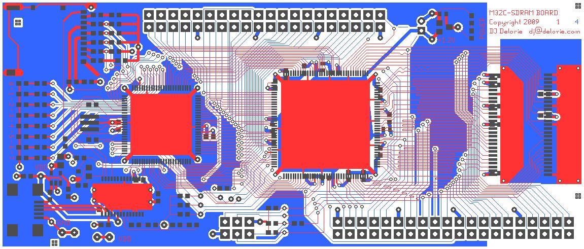 actual board sizes mcu to sdram interface
