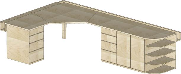 DJ's desk (single, oak) Sketchup plans for Mike's desk (double, maple